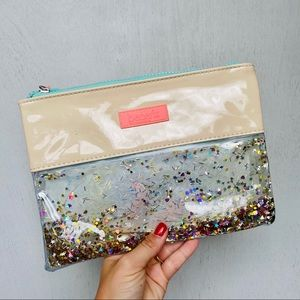 Benefit Nude & Glitter Cosmetics/ Makeup Pouch